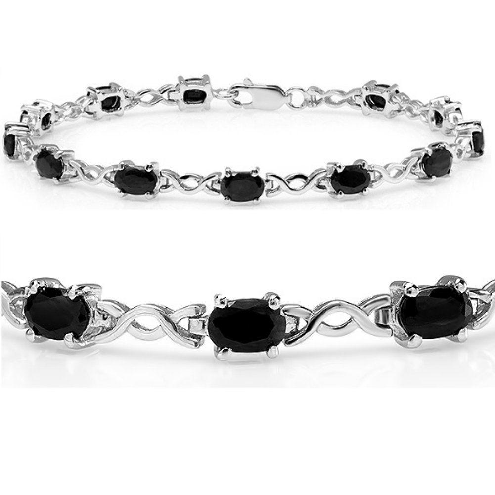 Ct tgw sapphire infinity tennis bracelet set in sterling silver