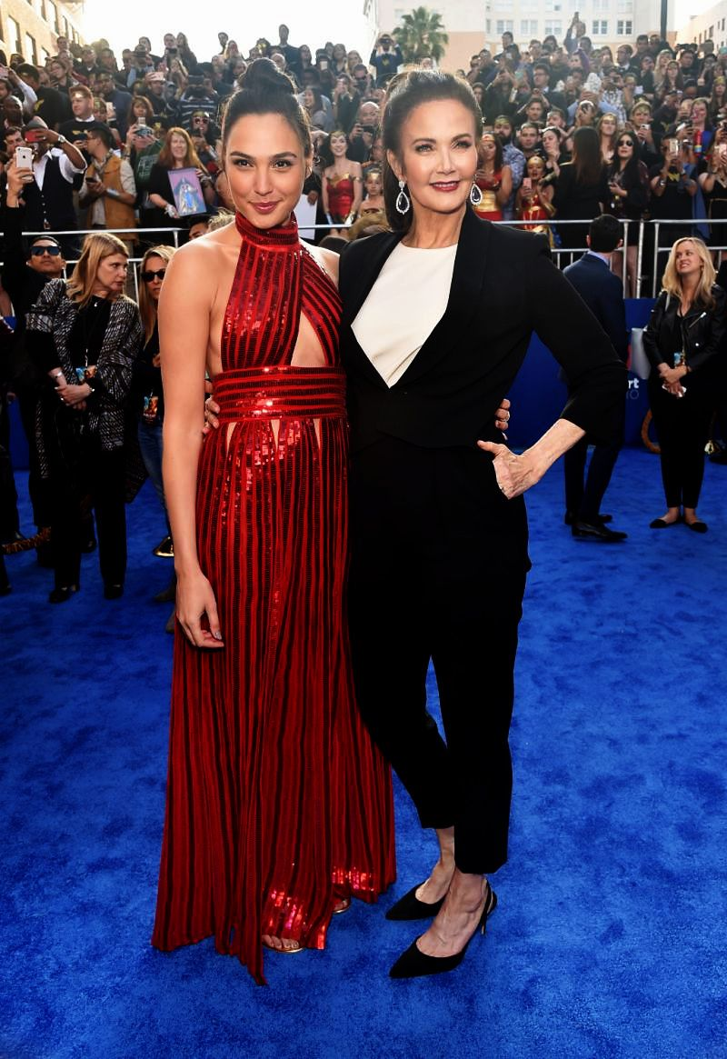 Gal Gadot and Lynda Carter at the premiere of 'Wonder Woman' in Los