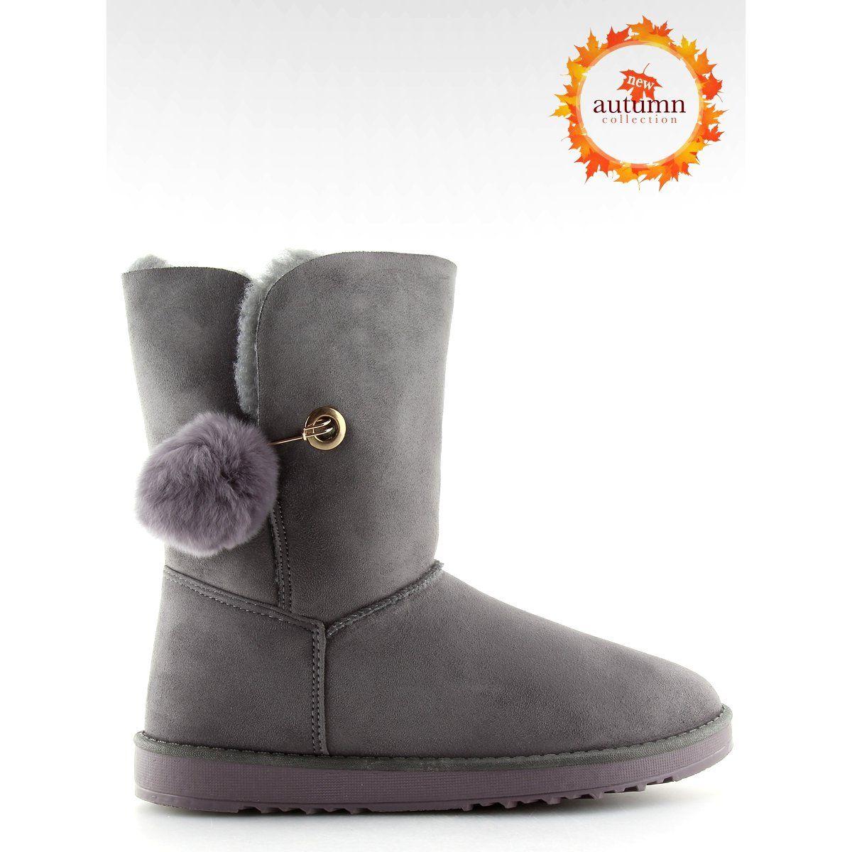 Sniegowce Damskie Butymodne Emusy Z Pomponem Szare Sp04p Grey Boots Ugg Boots Uggs