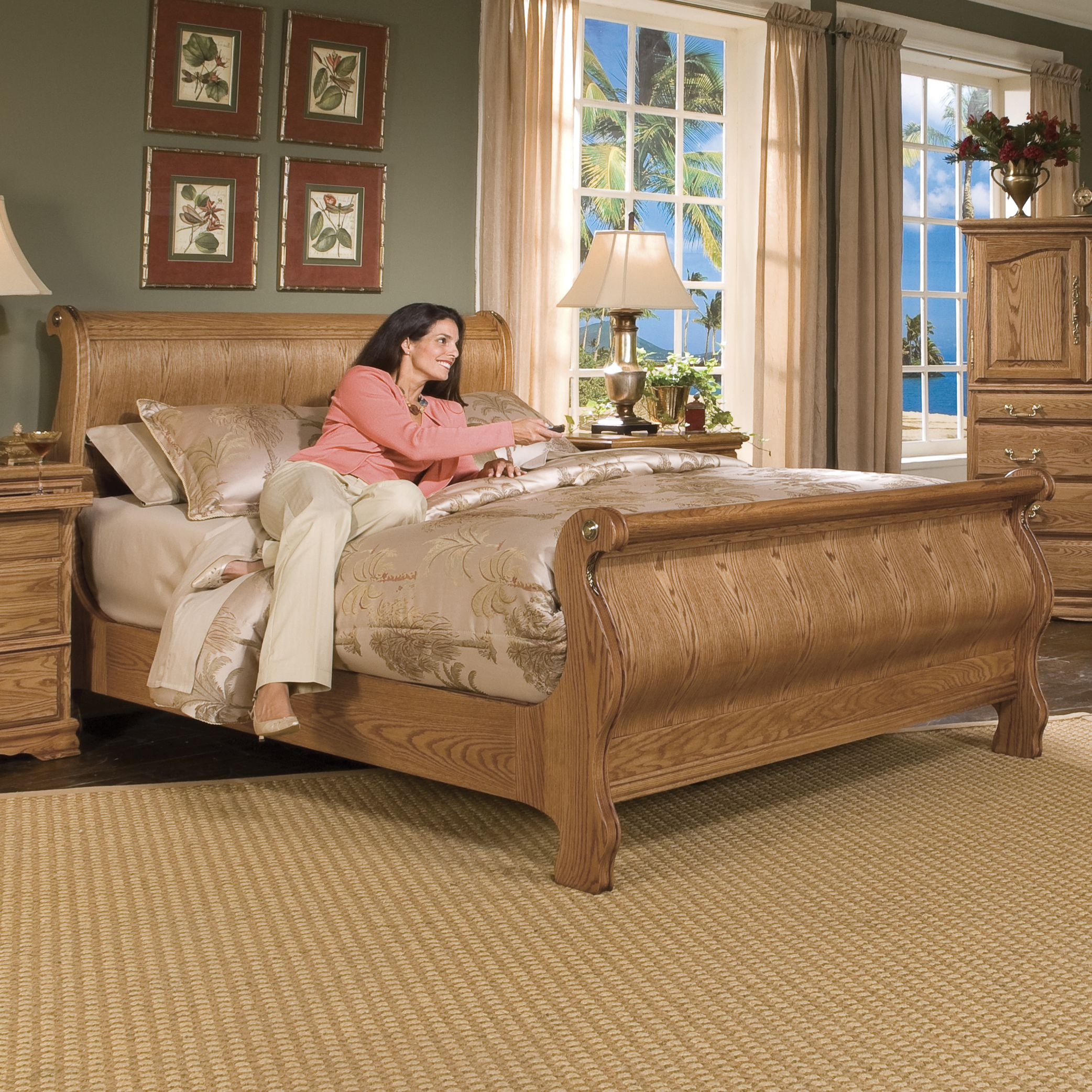 Sleigh Beds Oak Sleigh Bed Traditional King American Made Furniture Solid Wood Bedroom Furniture Furniture Styles