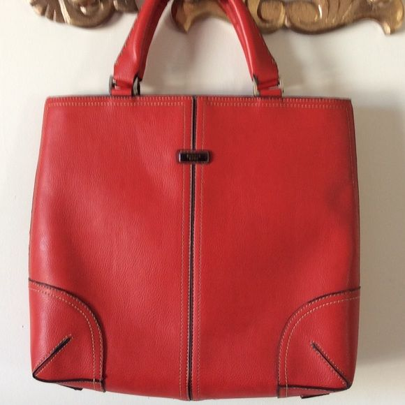 Red leather valise by Delarew Beautiful red leather bag, perfect for laptop.  Can be purse or briefcase.  Beautiful condition inside and out.  Looks like new. Delarew Bags