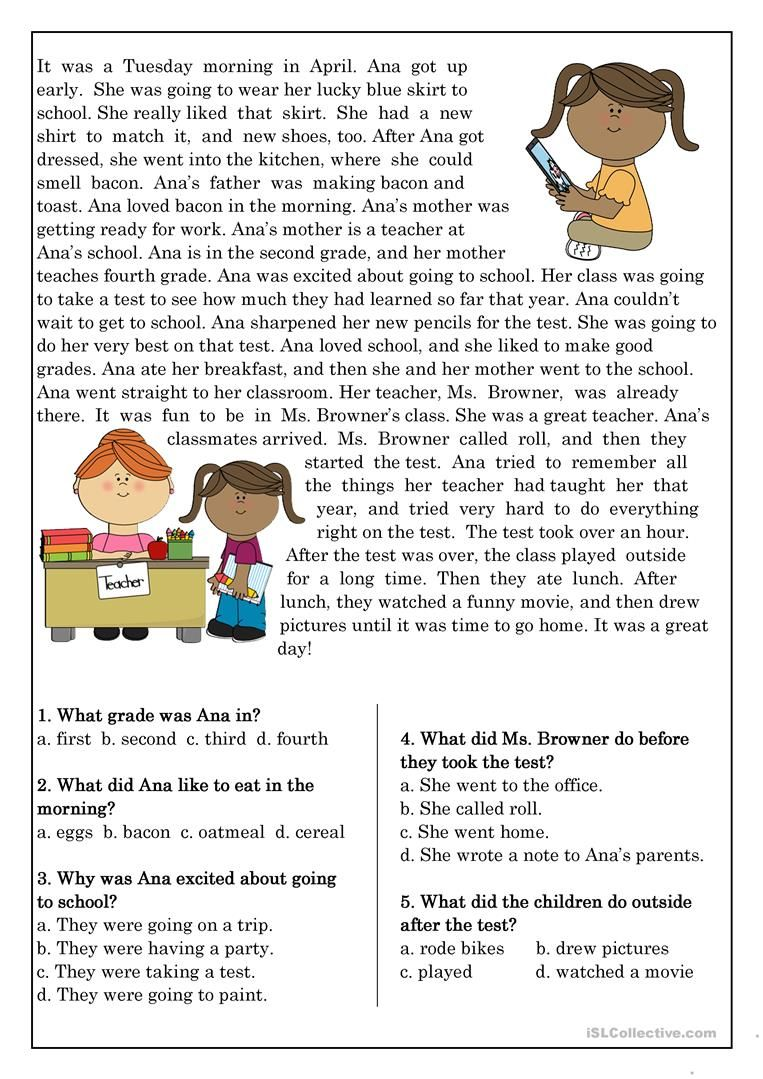 Reading Comprehension for beginner and Elementary Students ...