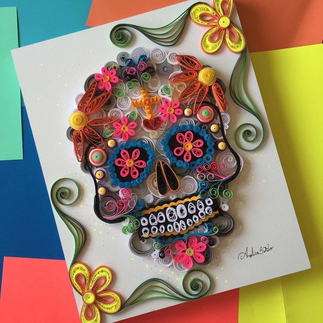 """Dia de los muertos skull on a wooden canvas #QuilledPaperArt  Available here!: http://www.etsy.com/shop/angelicaboteroart""  @angelica.botero"