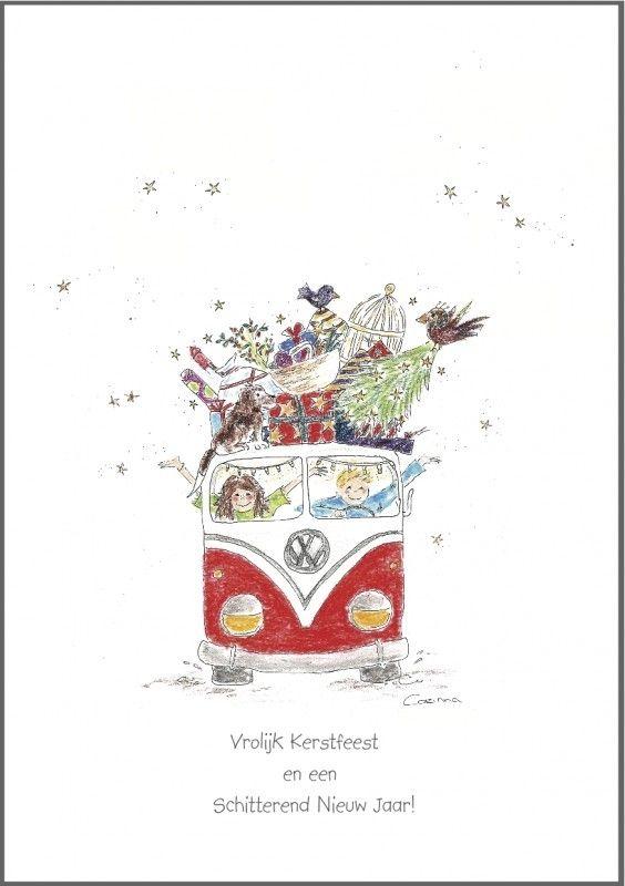 (Helaas op dit moment niet meer op voorraad) Kerstkaart `assortiment van 4 stuks` Aanbieding!