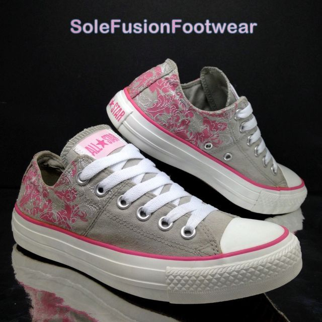 2d269e572da Converse Womens All Star Floral Trainers size 5 Grey Pink VTG Sneakers US 7  37.5