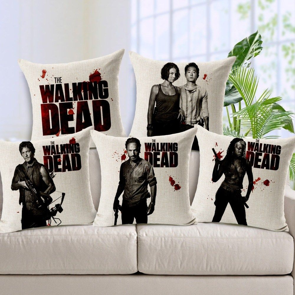 the walking dead linen cotton cushion cover price 9 95 free shipping twd twdfamily thewalkingdead twdmerchandise