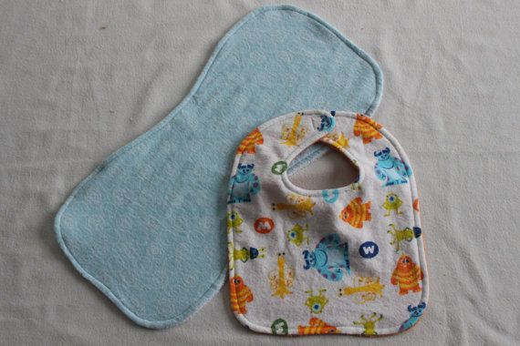 Monsters Inc Bib and Burp Cloth Set by PetesMomMakesStuff on Etsy