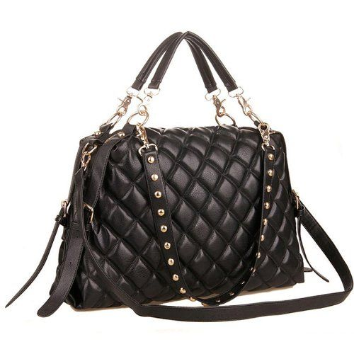 MG Collection MIZU Trendy Black Quilted Office Tote Studded ... : black quilted handbag - Adamdwight.com