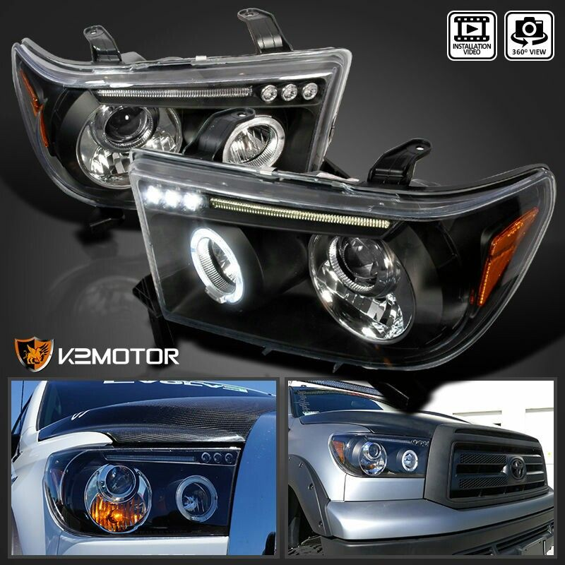 2007-2013 Toyota Tundra Halo Black Projector Headlights