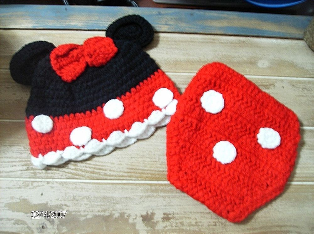 Crochet Baby Minnie Mouse Hat and Diaper Cover Set | crochet