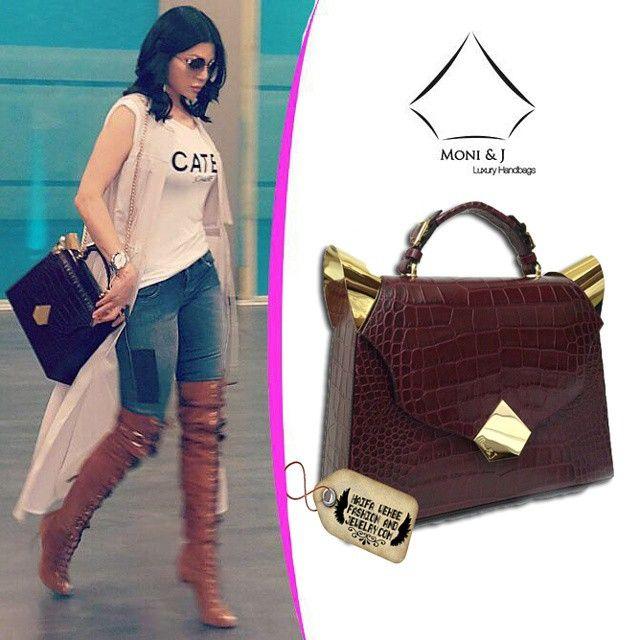 3c01bcaa1409 Haifa Wehbe Carrying Red Crocodile Bag by Moni and J