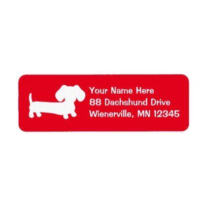 dachshund wiener dog red return address labels return address