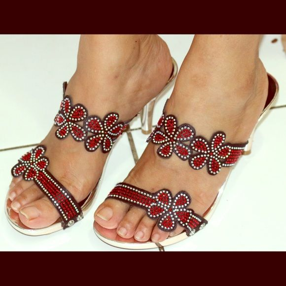 """Sandle Black and Red sequined sandal with 2 1/2"""" silver heels. Brand new never wore. Bought in India. I guess will fit only on narrow feet. Shoes Heels"""