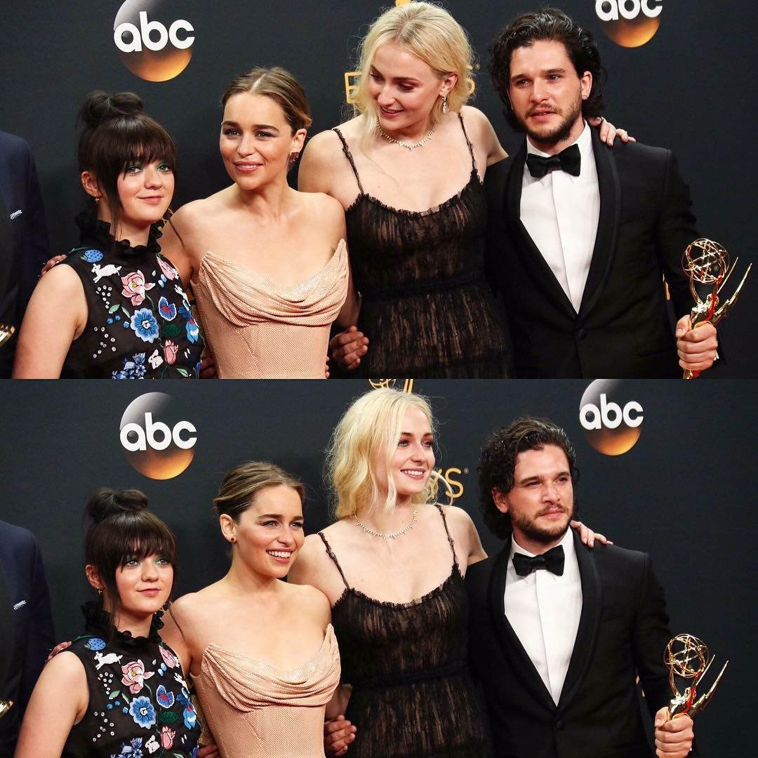 Maisie Williams, Emilia Clarke, Sophie Turner and Kit ...