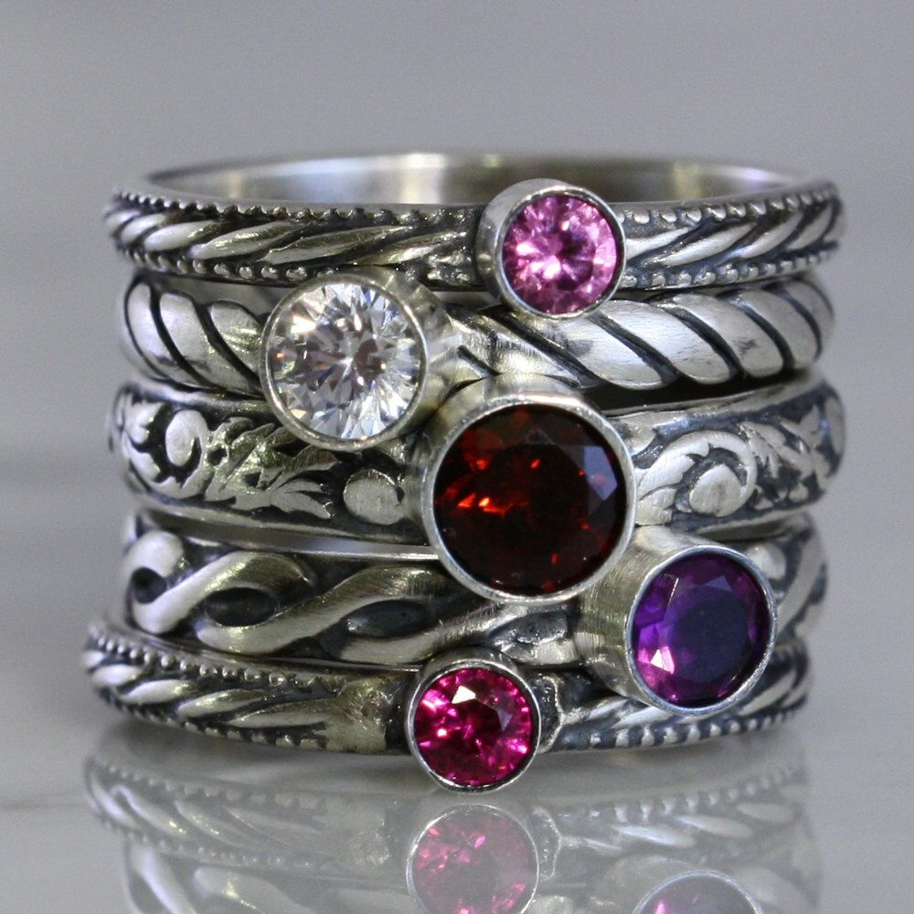 Ruby Ring Gemstone Ring In Sterling Silver Oxidized Silver Ring Diamond Ring Anniversary Gift Stackable Ring Silver Ring Gift For Mom