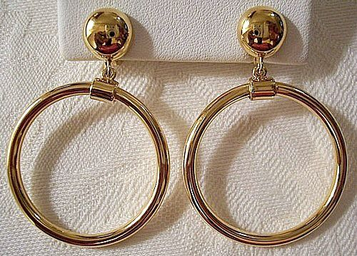 Monet Hoops Clip On Earrings Gold Tone Vintage Round Dangles
