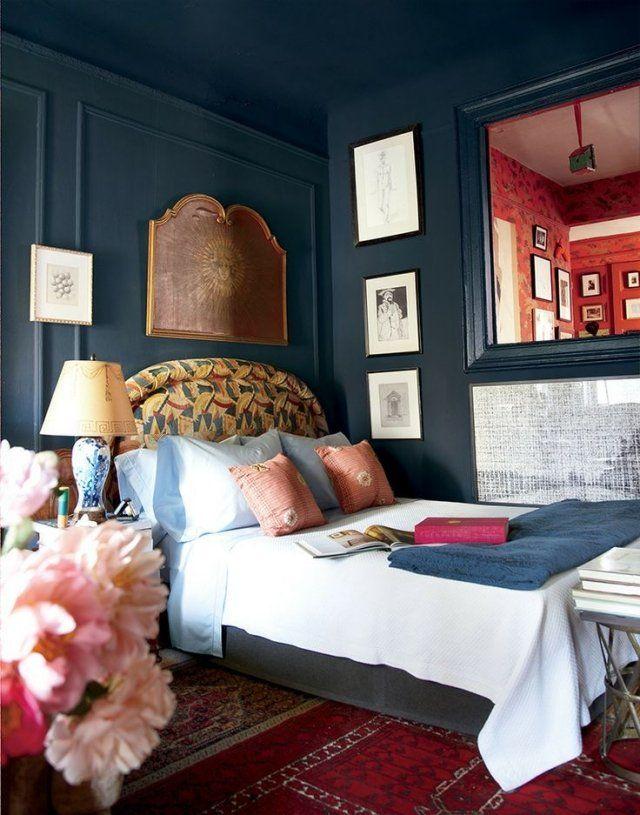 Ideen Für Wände Im Schlafzimmer Blau Bett Mit Gepolstertem Kopfteil