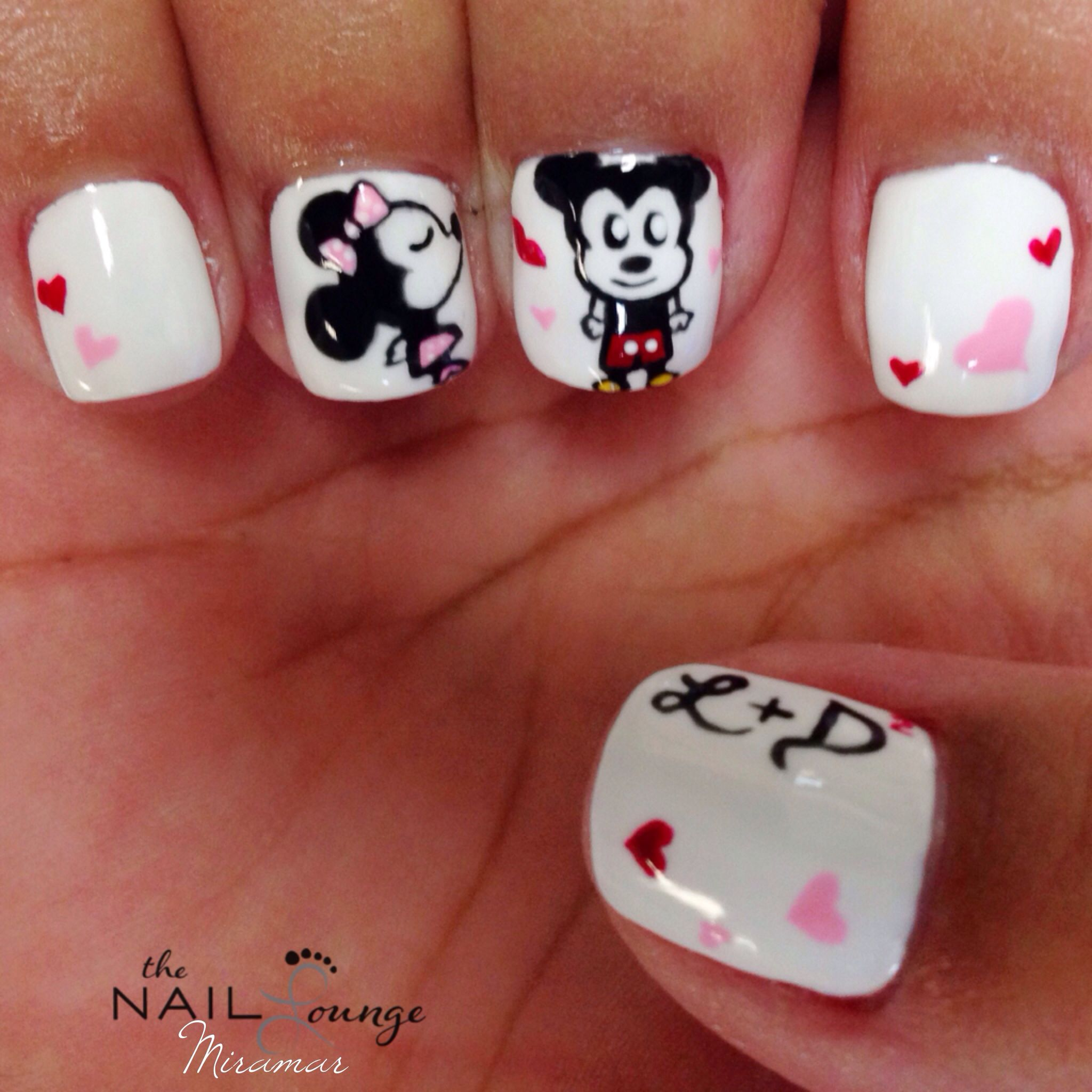 Disney Mickey Minnie Mouse love gel nail art design | nails | Pinterest