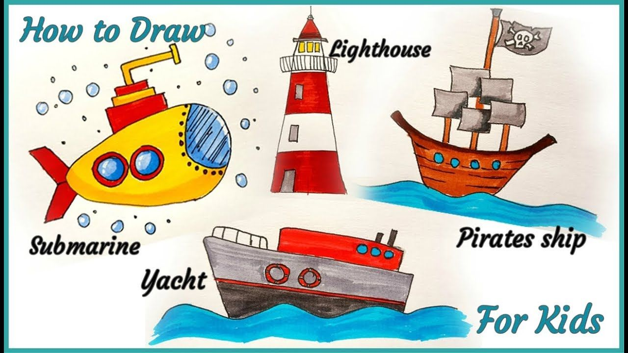 How To Draw Yacht For Kids How To Draw Pirates Shipfor Kids How To