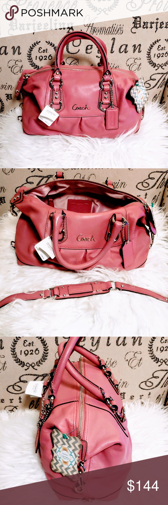 4edaebf585 Coach Ashley leather satchel purse Dusty Rose🆕💋 Brand New with tags Coach