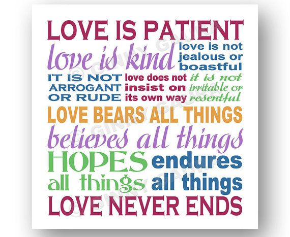 Love Is Patient Love Is Kind Art 8x8 Printable Downloadable File