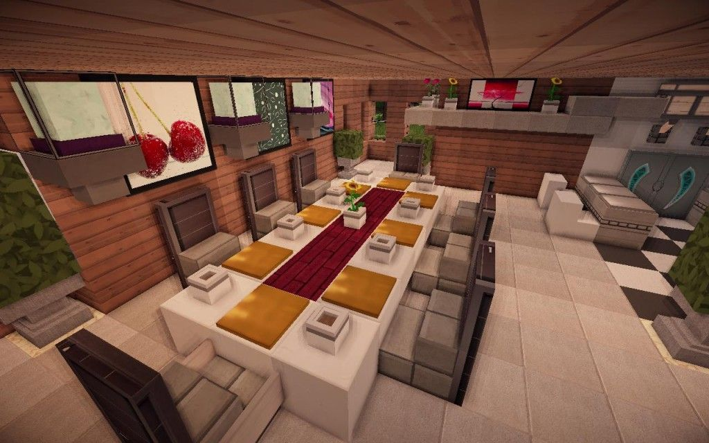 Jade modern minecraft kitchen table minecraft for Minecraft house interior living room
