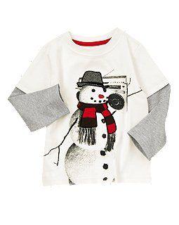 Snowman Double Sleeve Tee