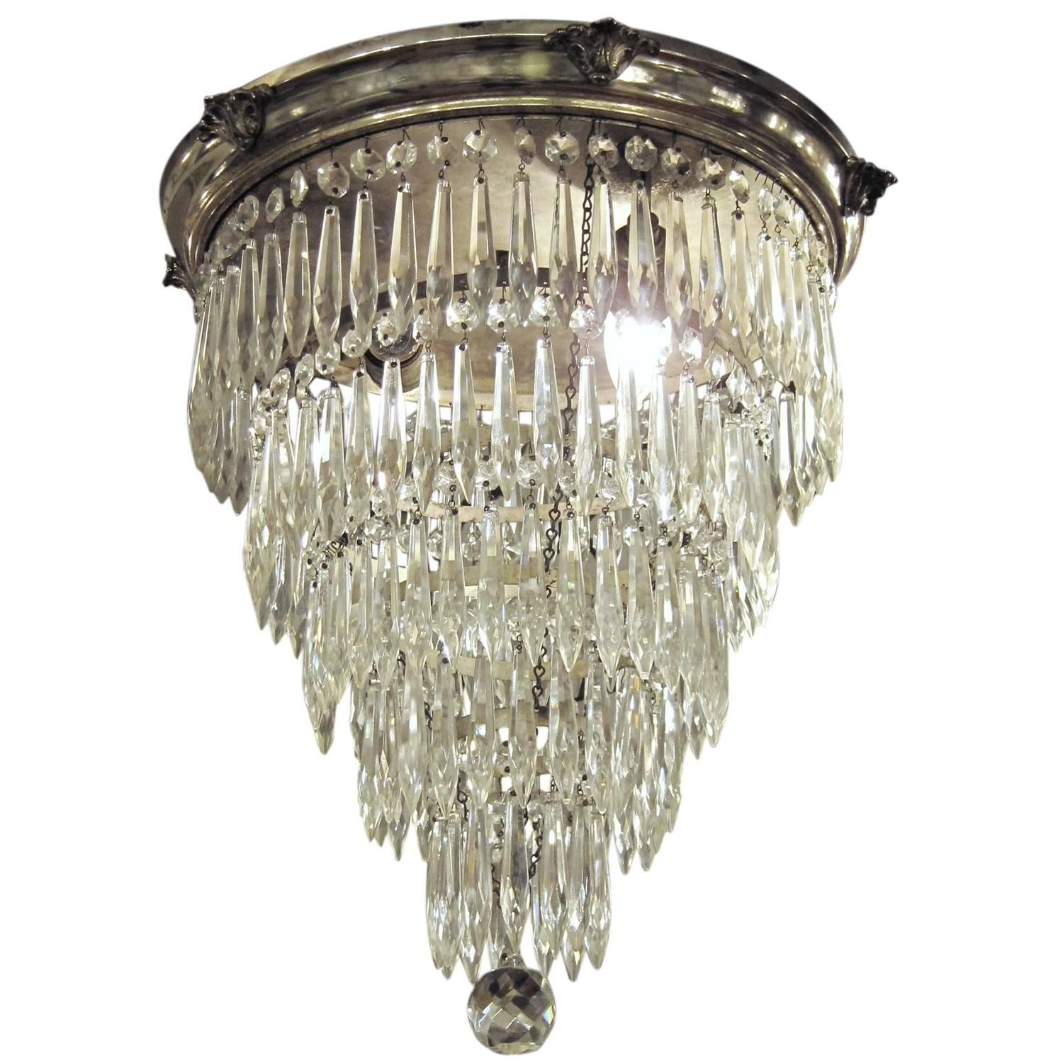 1920s Silver Plated Crystal Wedding Cake Flush Mount Chandelier With Five Tiers
