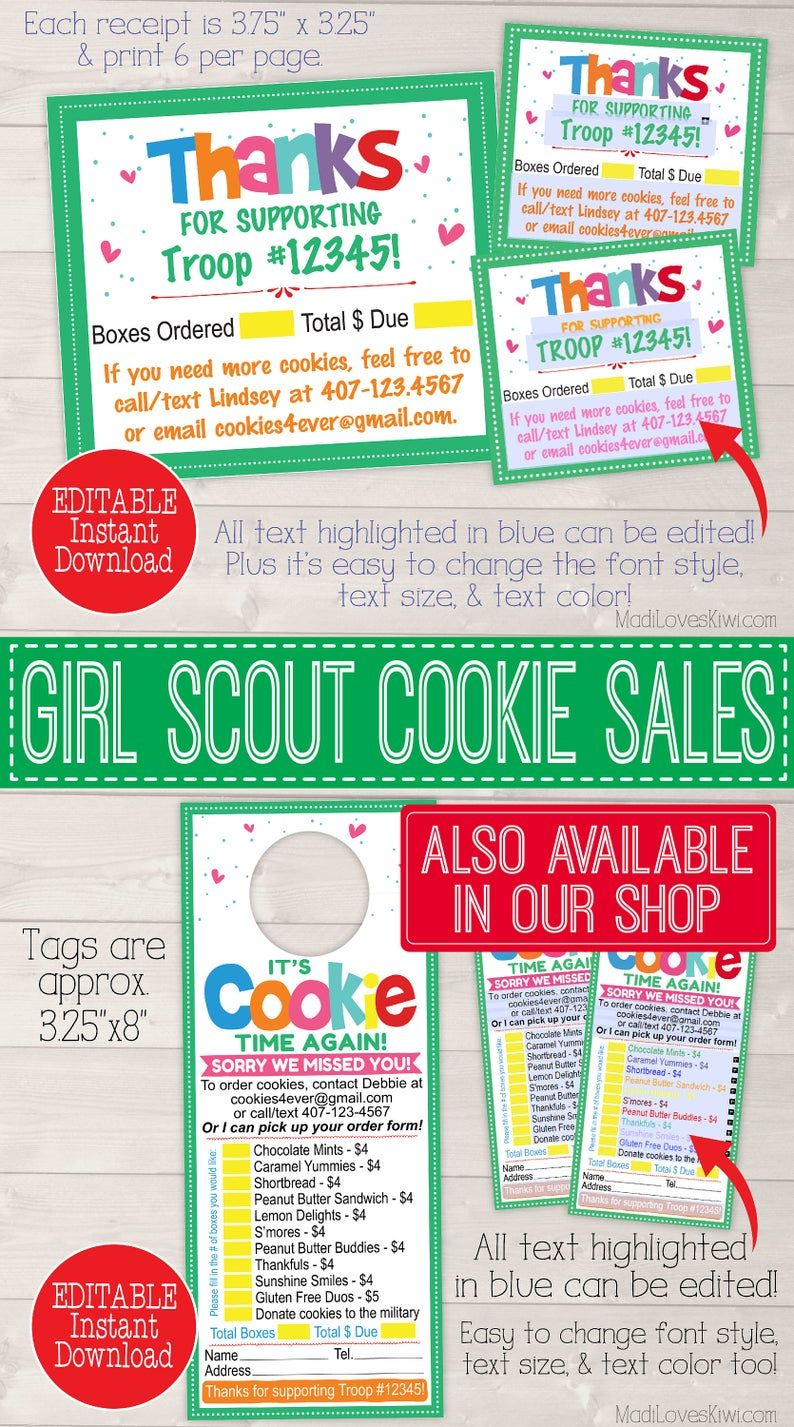 Editable Girl Scout Cookie Thank You Note Printable Order Sales Receipt Troop Leader Instant Download Booth Seller Card With Contact Info In 2020 Girl Scout Cookies Booth Girl Scout Cookie Sales