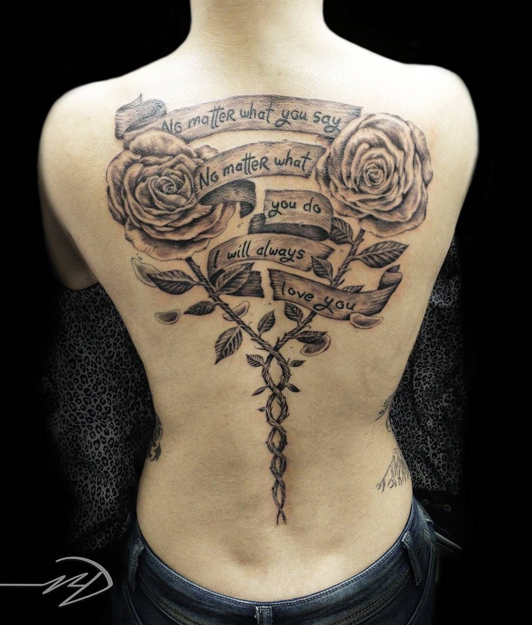 97b8eecf72f96 70 Latest Spine Tattoo Ideas for a Sexy Back Look. Intricately Detailed  Rose and Quote Upper Back and Spine Tattoo in Black