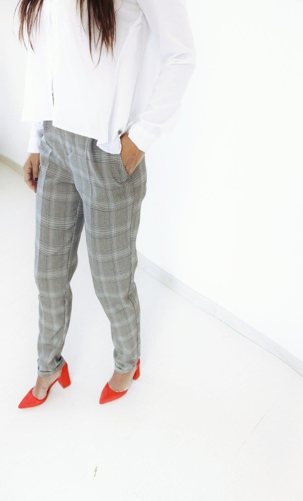 381ca7ef9d19 OFFICE CHECKED LINU PANTS