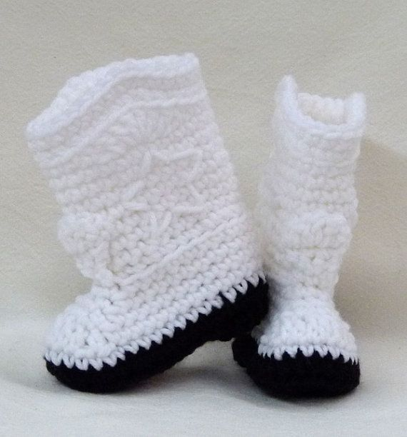 Crocheted Baby Booties White Cowboy Cowgirl choose a size winter ...
