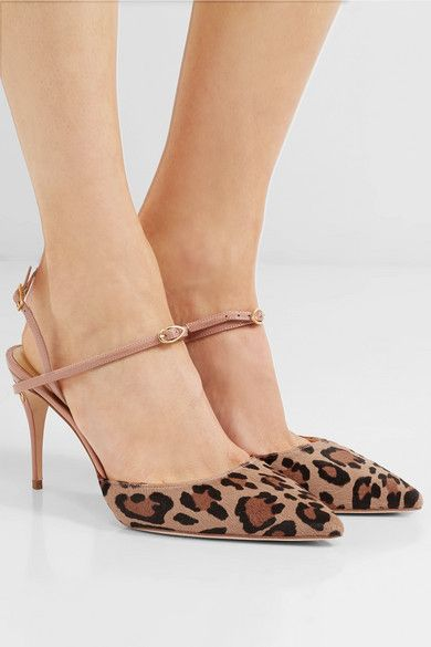 Vittorio Leopard-print Calf Hair And Patent-leather Slingback Pumps - Leopard print Jennifer Chamandi XQJHDNm