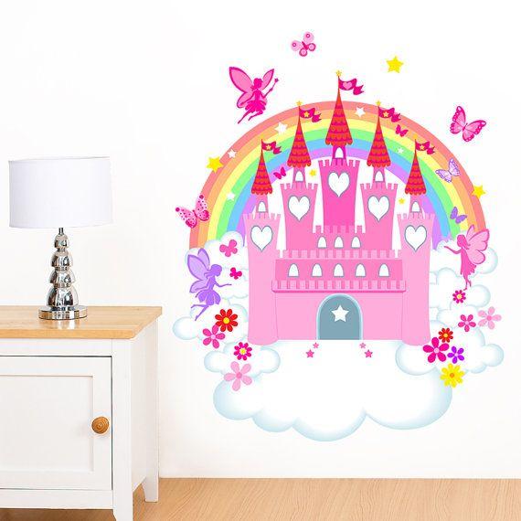 Fairy Castle, Rainbow, Flower & Butterfly Girl\'s Mural Wall Sticker ...