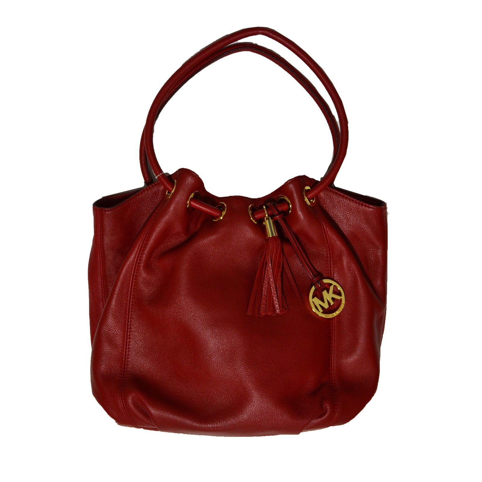 cc65ebcdde5a Michael Kors Purse Scarlet Leather Large Ring Tote Red | Handbags ...
