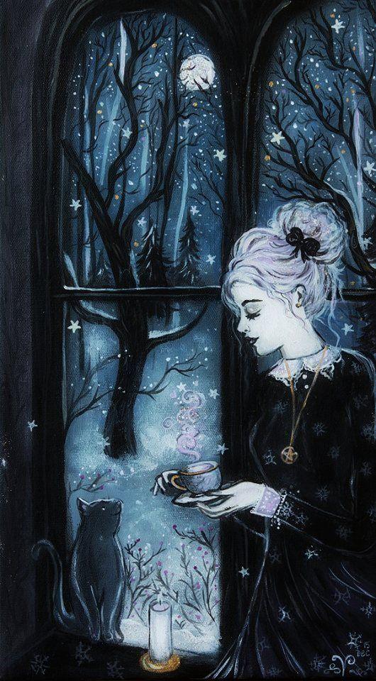 Moon In A Cup. strega, witch, sorcier, bruja, black cat, familiar, moon, luna