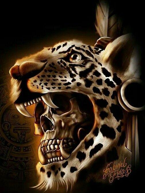 Jaguar Warrior Skull Mayan Art Aztec Art Lowrider Art