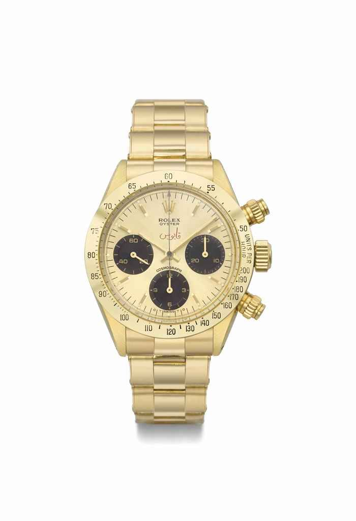 Rolex. An extremely rare, important and possibly unique 18K gold chronograph wristwatch with champagne dial and bracelet, especially made for the Sultanate of Oman, circa 1973 #ChristiesWatches
