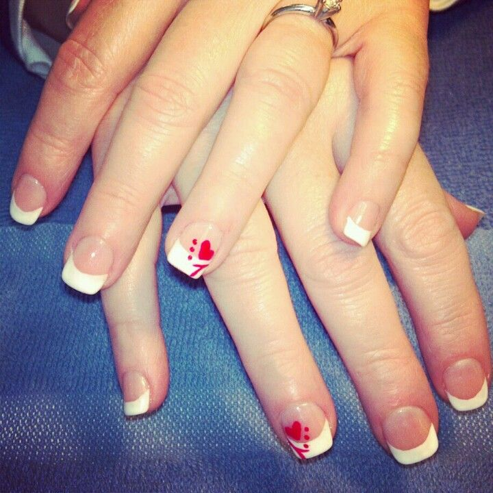 valentine french nails nail art
