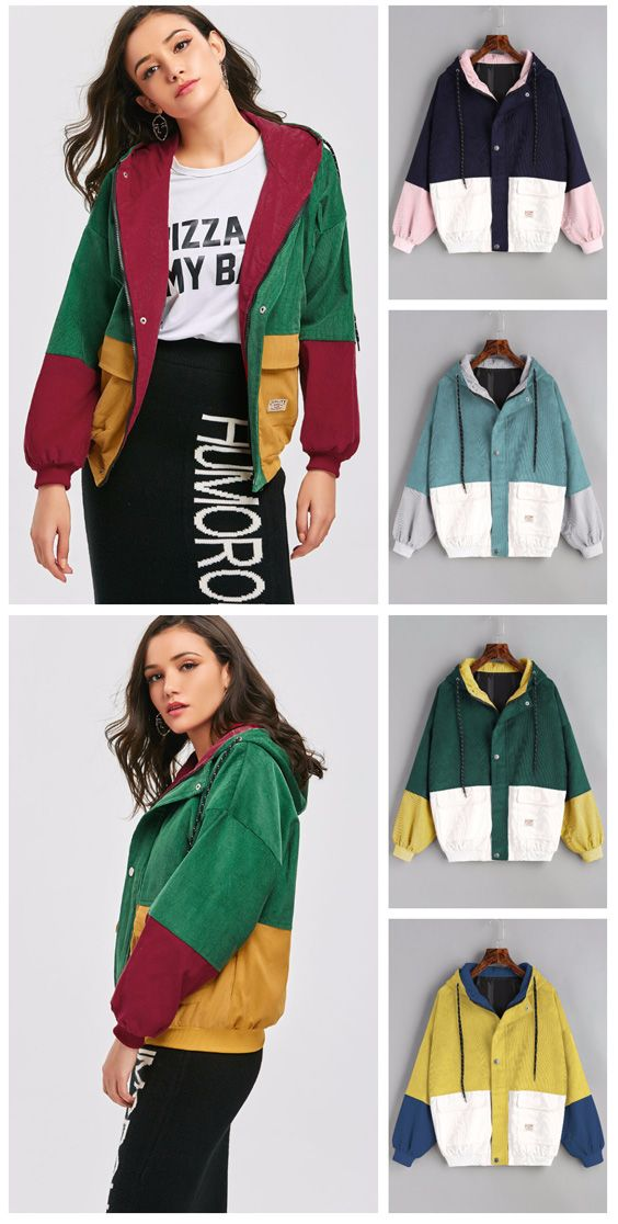 85c43fa45 Hooded Color Block Corduroy Jacket in 2019 | ZAFUL CLOTHING | Denim ...