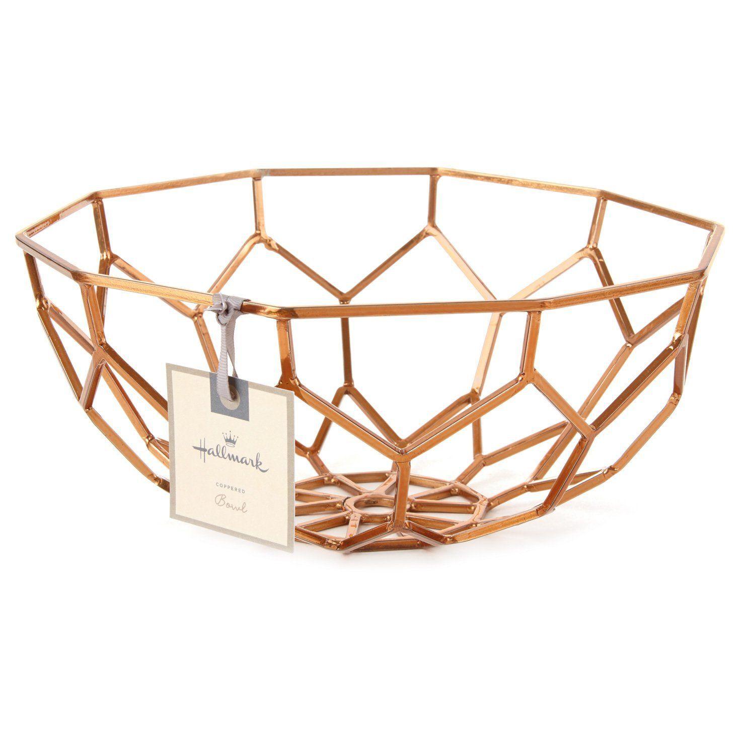 Amazon Com Hallmark Home Decor Copper Metal Geometric Bowl Home Kitchen Home Decor Copper Geometric Bowl