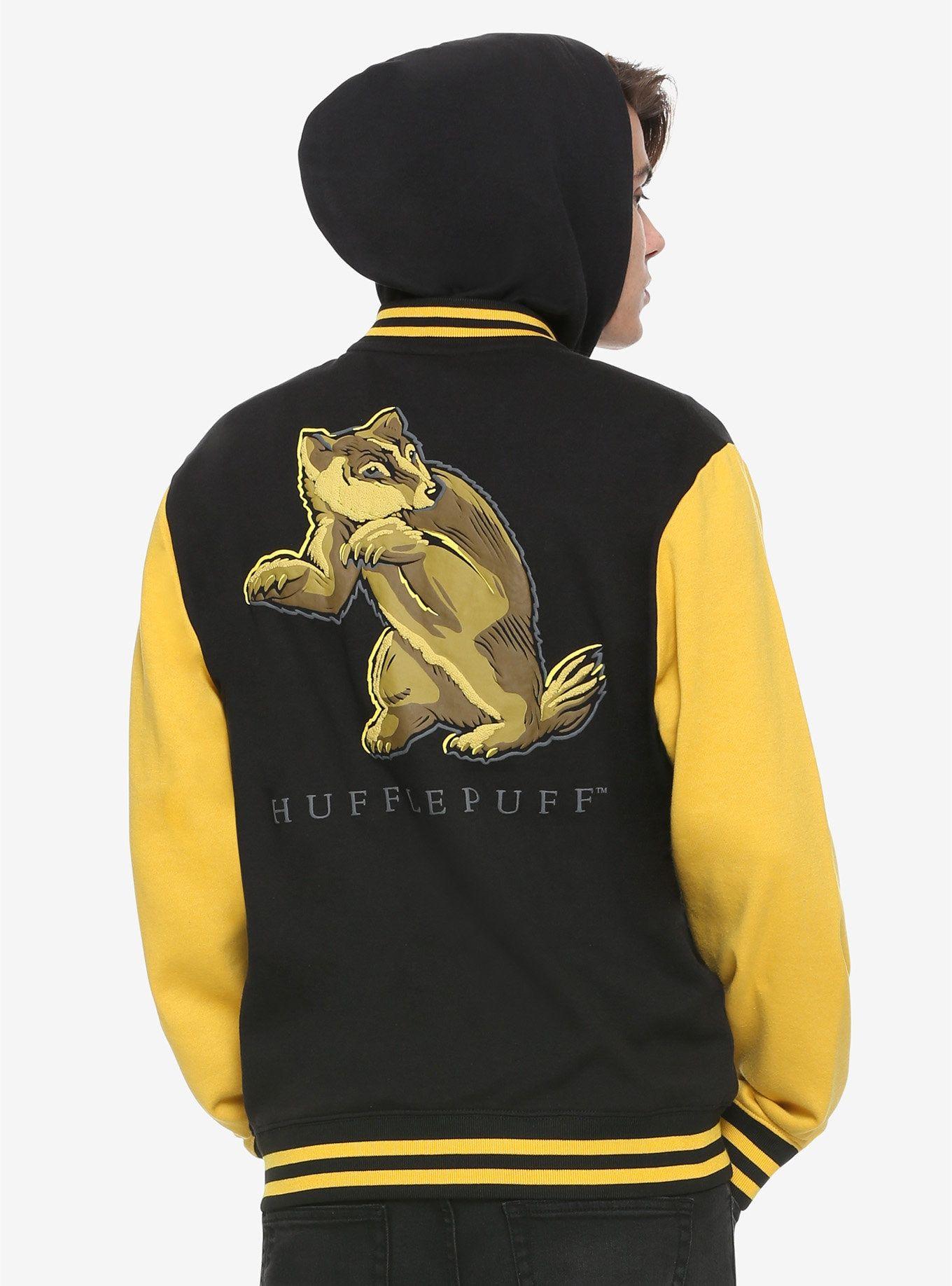 Harry Potter Hufflepuff Black Yellow Varsity Hoodie Harry Potter Outfits Harry Potter Hufflepuff Varsity Hoodie