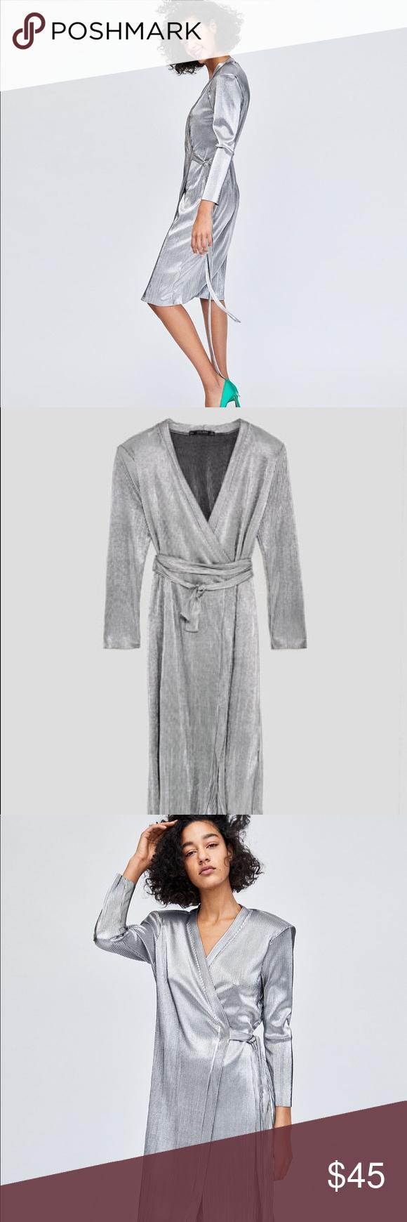 Zara Silver Long Sleeve Wrap Dress Long Sleeve Wrap Dress Fashion Wrap Around Dress