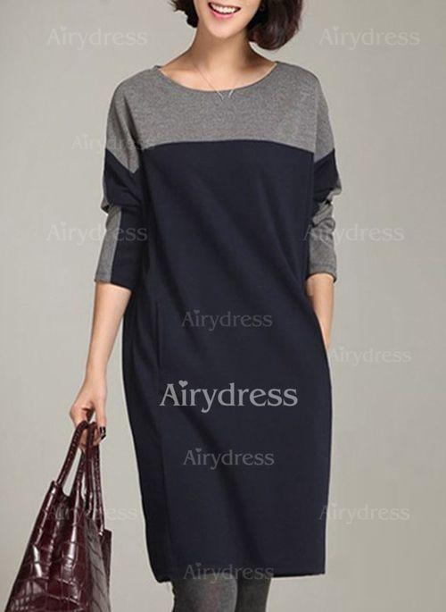 370a4f5ed Vestidos Informal Hasta las rodillas Manga larga Bloque de color Bolsillos  - Airydress