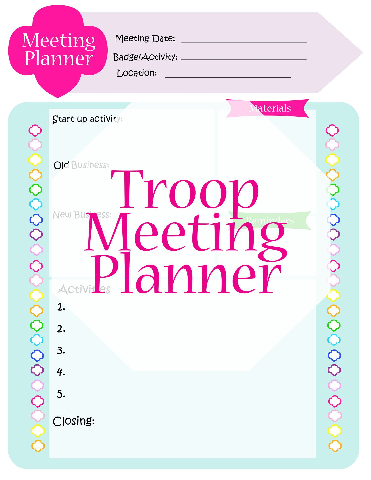 Troop Meeting Planner And Other Useful Tools