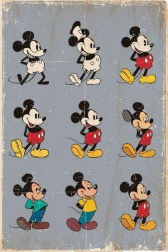 New walt disney mickey mouse evolution poster nel 2019 disegni