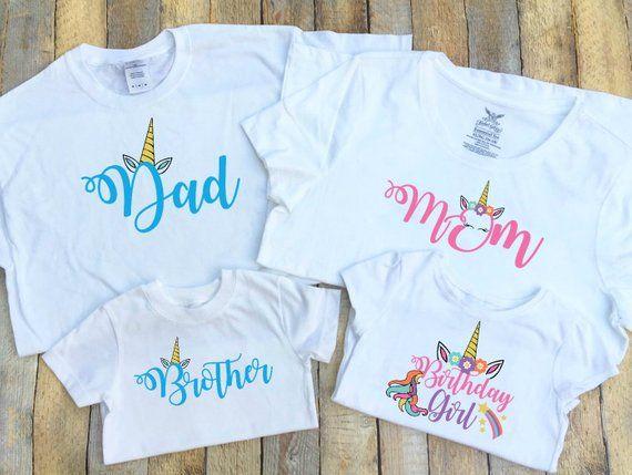 Dad Mom Brother Birthday Girl Unicorn Family T Shirts