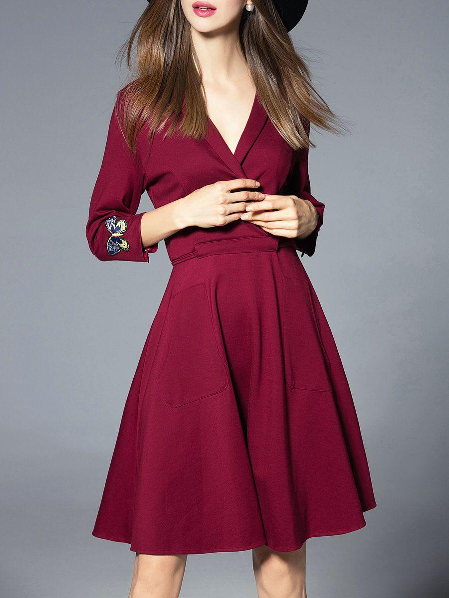Jianshan embroidered aline elegant sleeve wrap dress adorewe