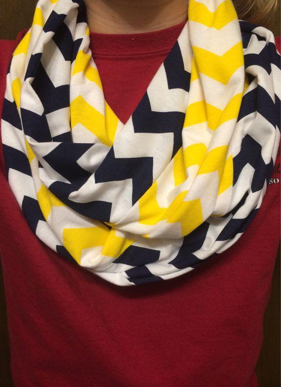 b8e40f70316 Navy blue & yellow chevron infinity scarf by SistersAndSewOn ...