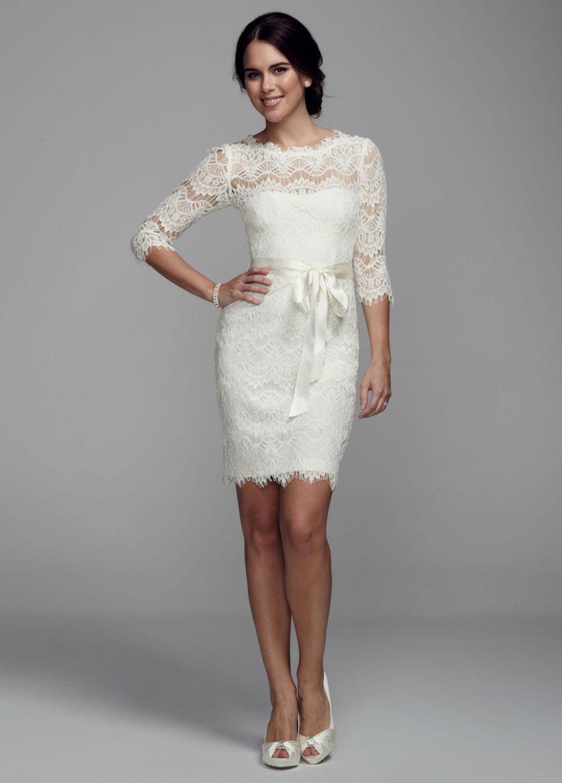 Short lace dress with sleeves davidus bridal wedding ideas